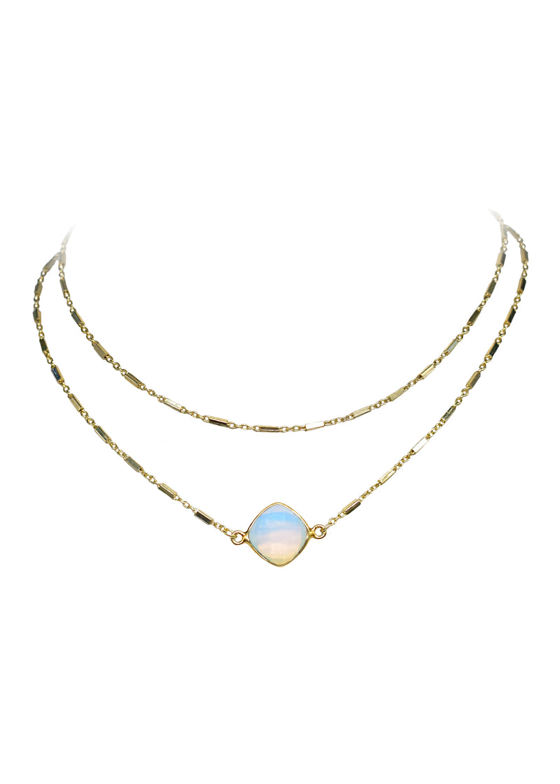 CELESTE ABBY DOUBLE CHOKER NECKLACE WHITE OPAL