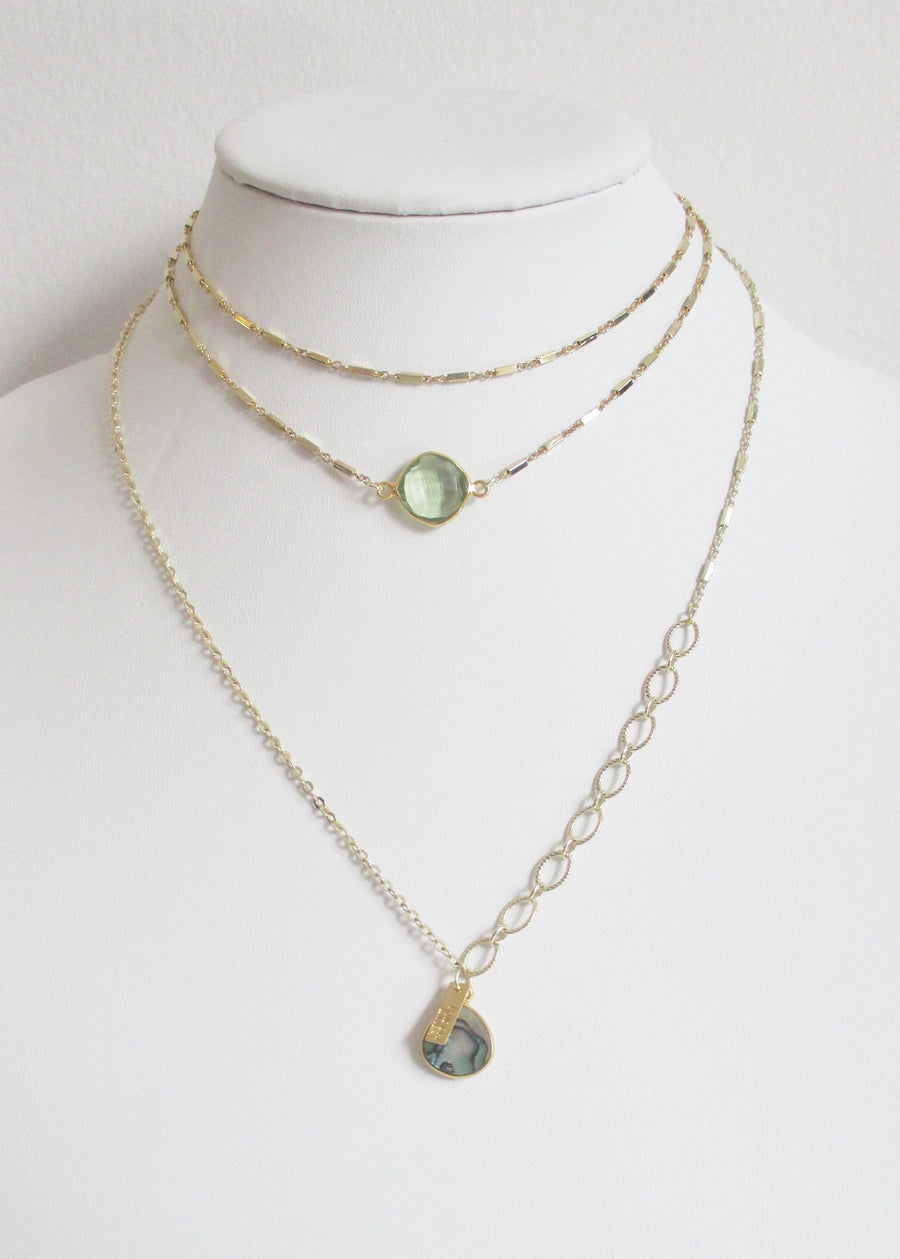 ABBY CELESTE DOUBLE CHOKER NECKLACE GREEN AMETHYST