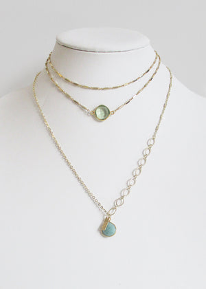 METALLIC OCEAN MIXED CLASSIC CABLE CHAIN AMAZONITE