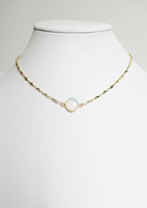 ARIANNA CELESTE NECKLACE WHITE OPAL