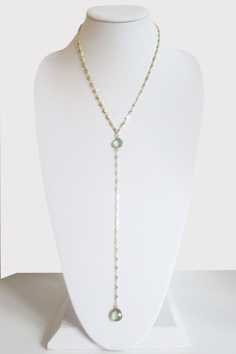 ARIANNA CECELIA Y NECKLACE GREEN AMETHYST (SOLD OUT)