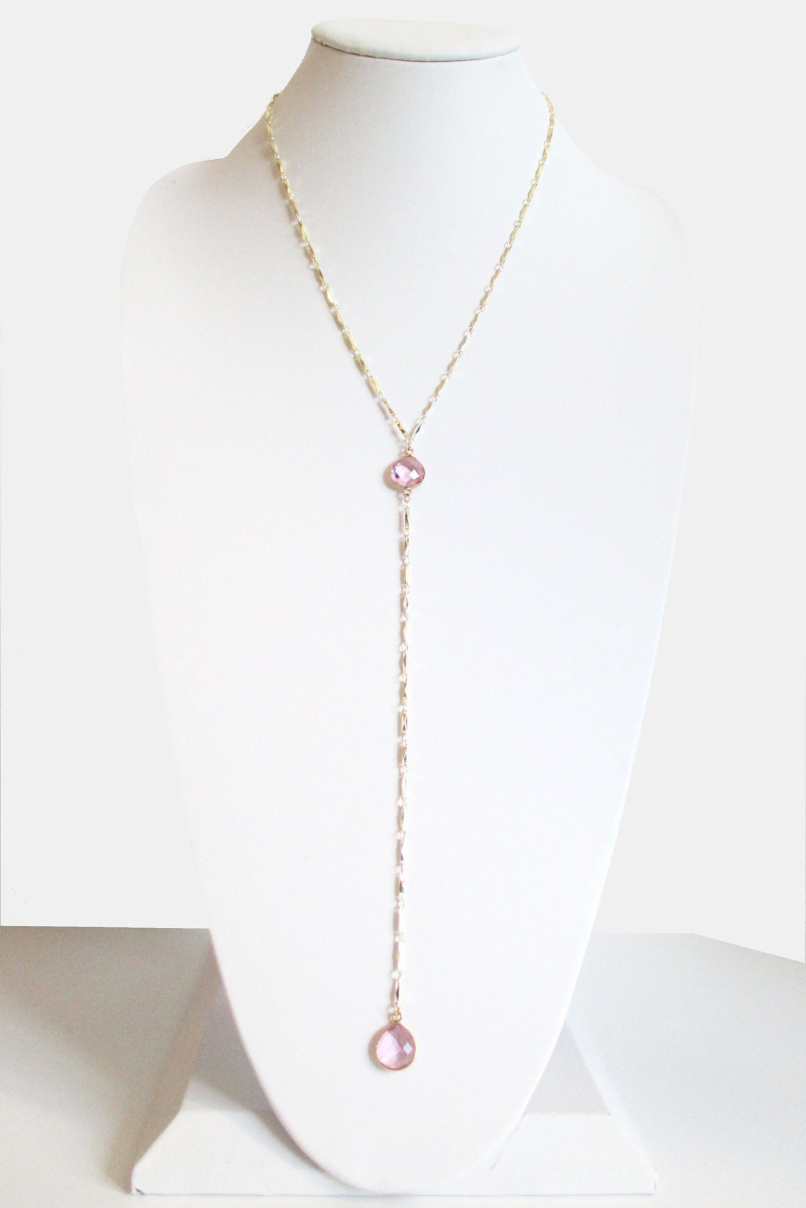 MG ANYA CECELIA Y NECKLACE CLEAR ROSE PINK