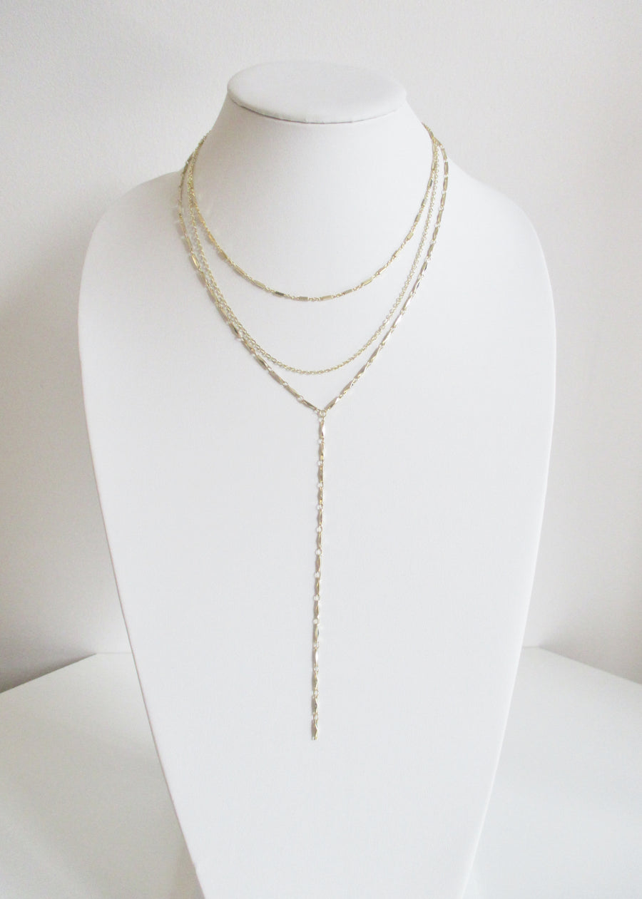 KARA CABLE ANYA HIGH Y TIERED NECKLACE