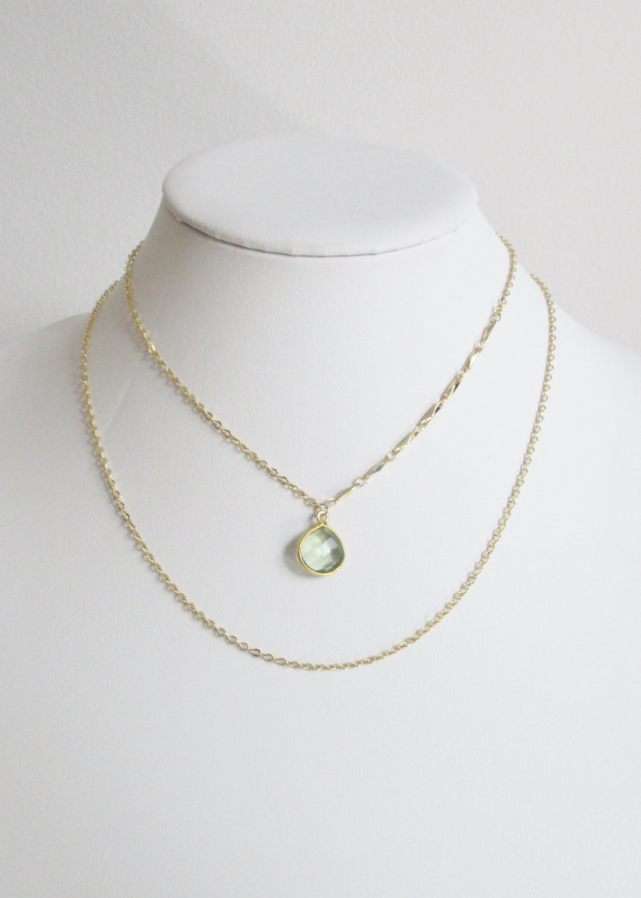 LIVEOUTLOUD ANYA CABLE GREEN AMETHYST NECKLACE