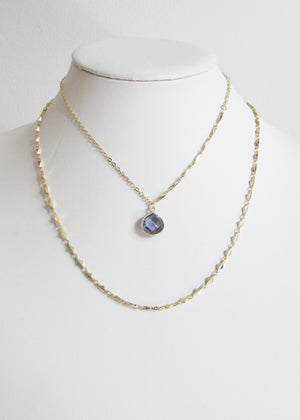 LIVEOUTLOUD ANYA CABLE PURPLE IOLITE NECKLACE