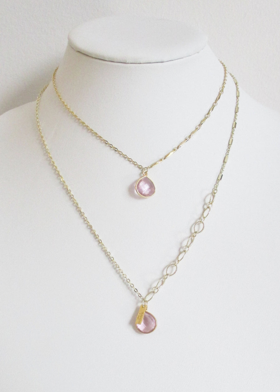 LIVEOUTLOUD ANYA CABLE ROSE PINK NECKLACE
