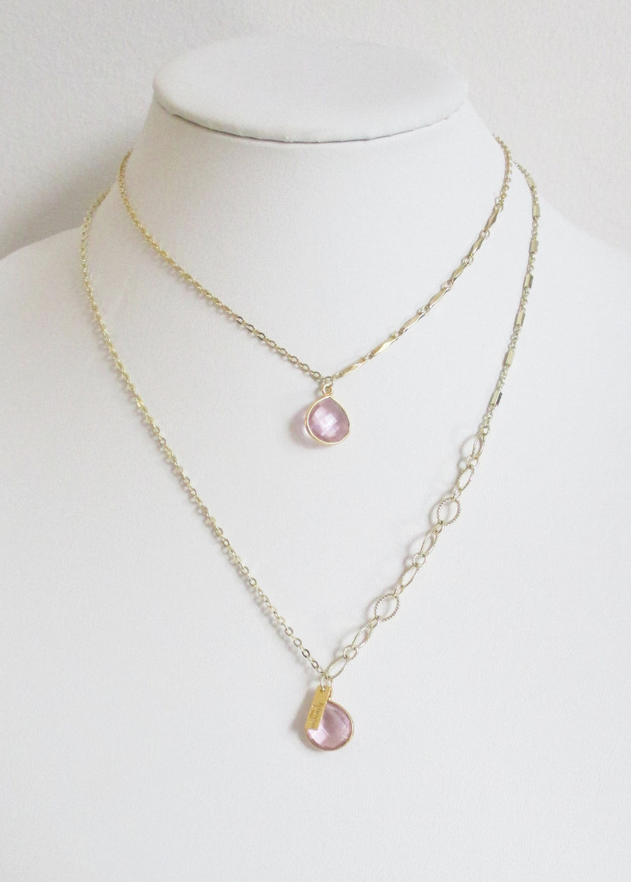 SAMPLE SALE METALLIC OCEAN MIXED CLASSIC CABLE CHAIN ROSE PINK