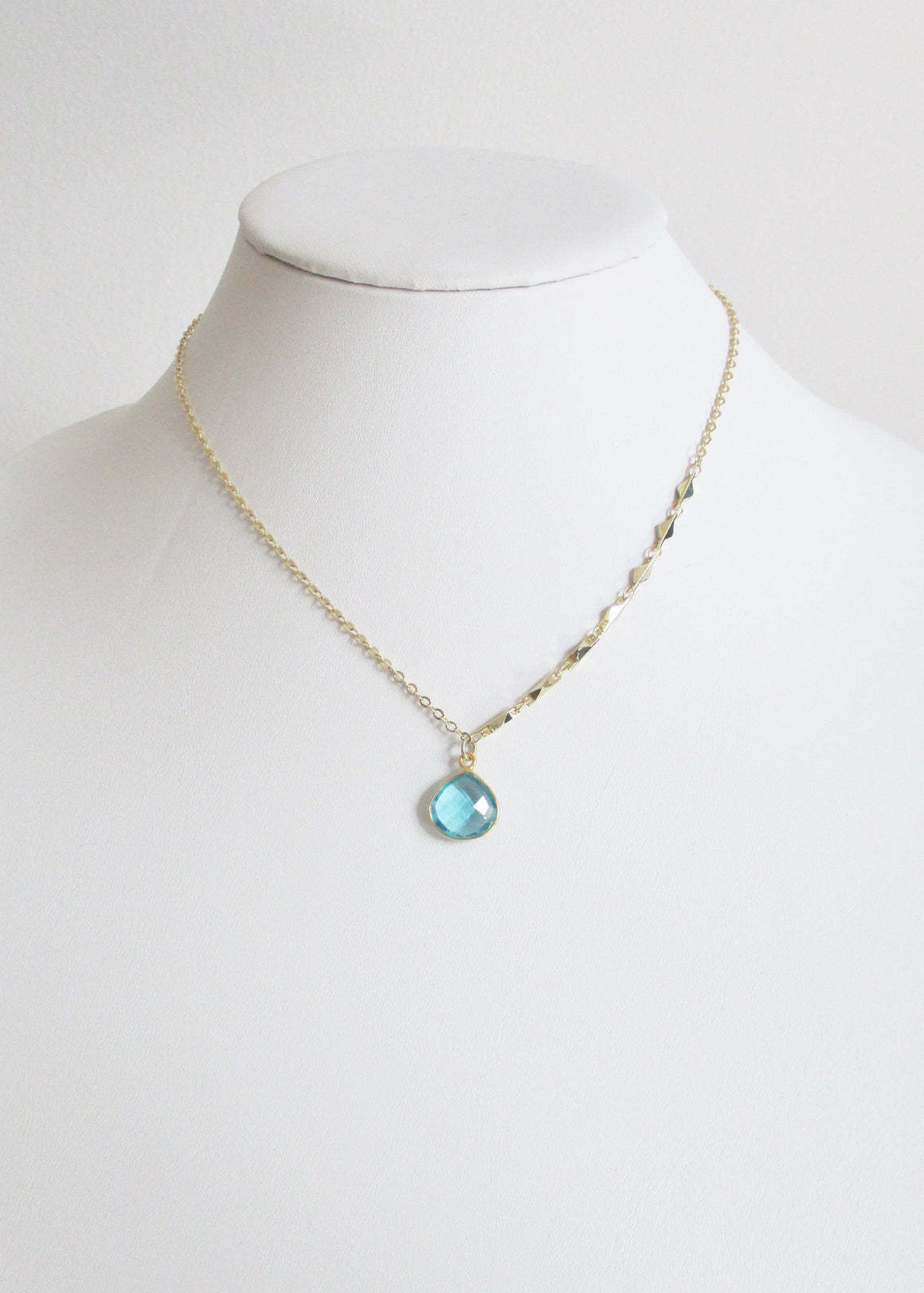 LIVEOUTLOUD ARIANNA CABLE AQUAMARINE NECKLACE