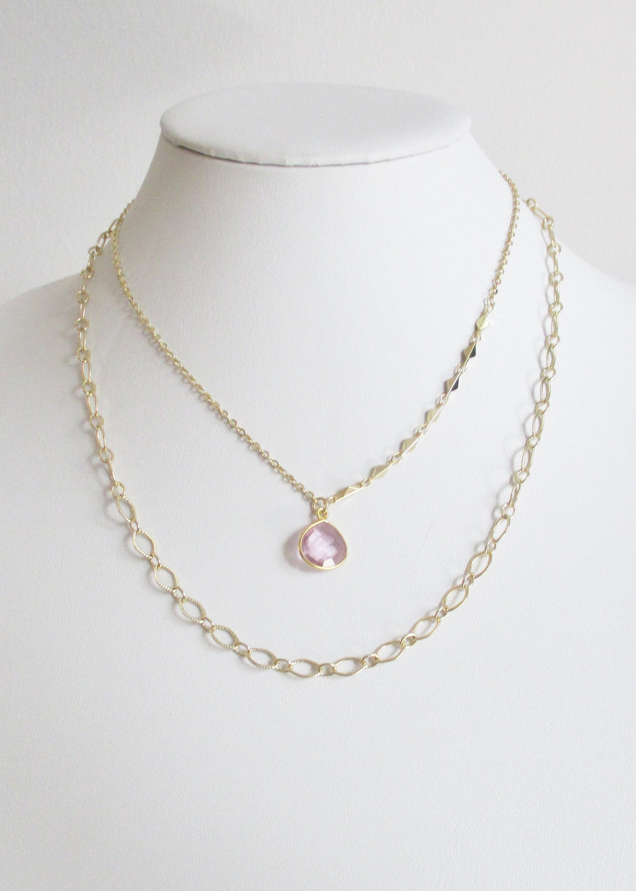 LIVEOUTLOUD ARIANNA CABLE ROSE PINK NECKLACE