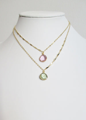 LIVEOUTLOUD ARIANNA CABLE GREEN AMETHYST NECKLACE