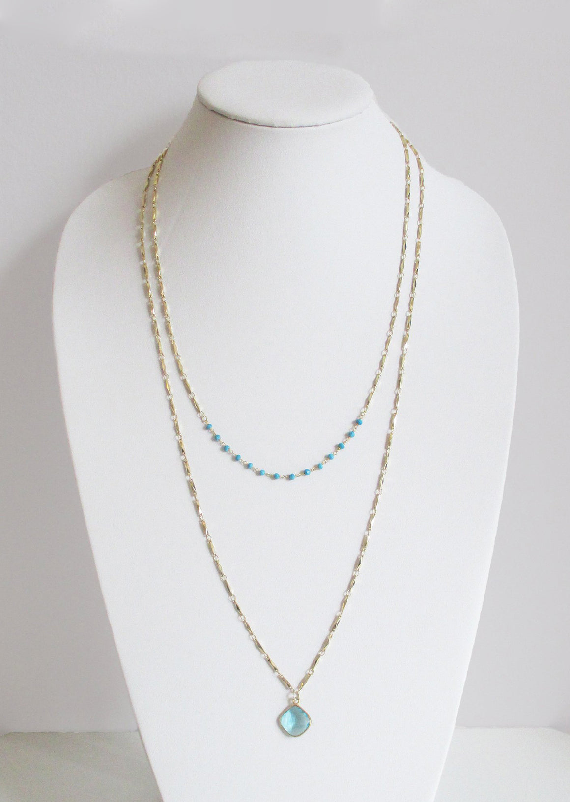 MARNA NECKLACE TURQUOISE & WHITE OPAL COMBO