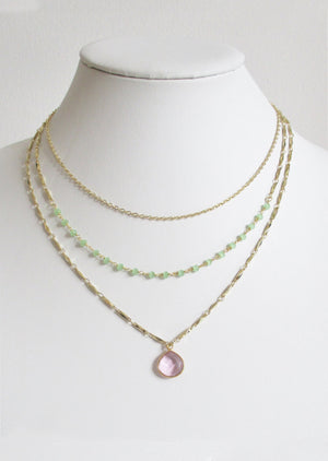 METALLIC OCEAN THREE TIER GREEN CHALCEDONY AND ROSE PINK GEMSTONE NECKLACE (A SOLD OUT)