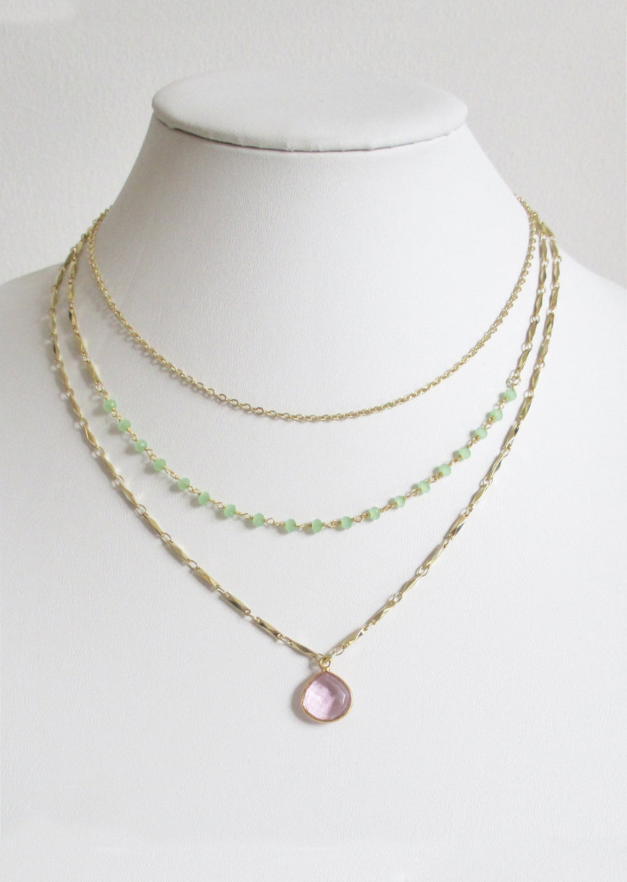 METALLIC OCEAN THREE TIER GREEN CHALCEDONY AND ROSE PINK GEMSTONE NECKLACE