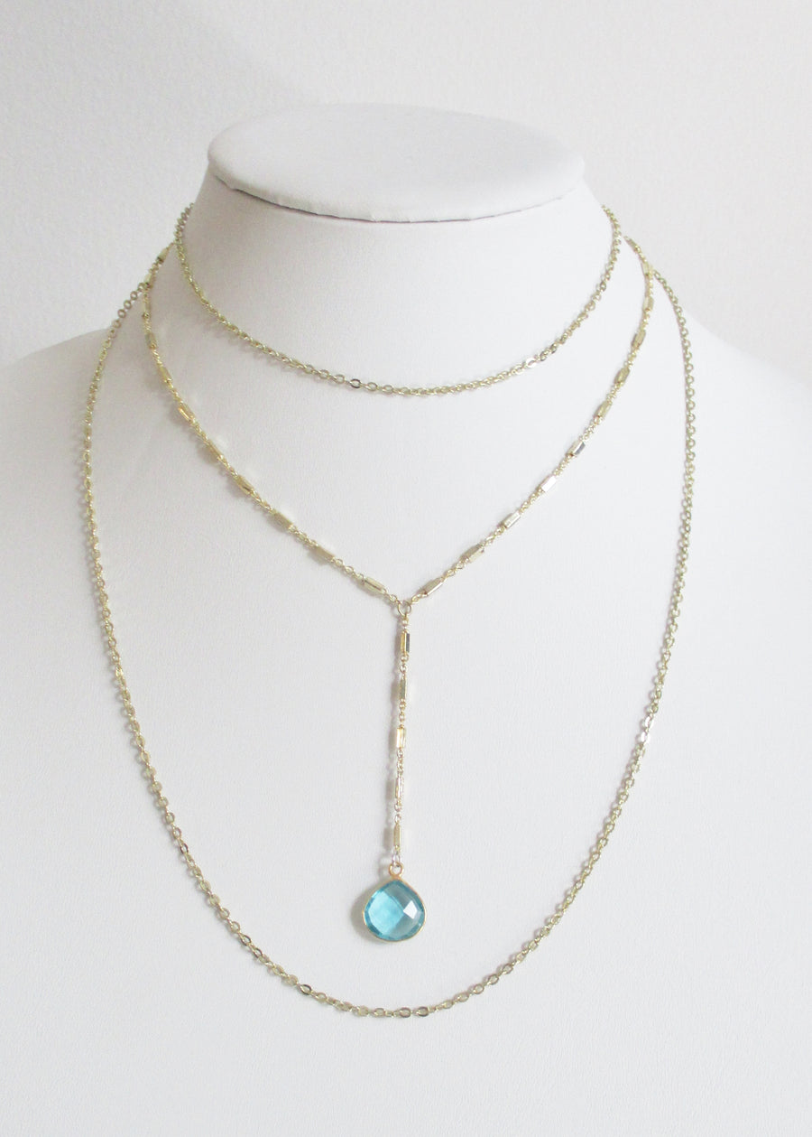 MG TIERED NECKLACE AQUAMARINE