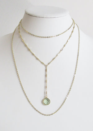 SAMPLE SALE MG TIERED NECKLACE GREEN AMETHYST