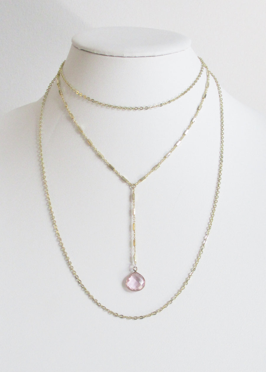 MG TIERED NECKLACE ROSE PINK