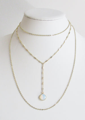 MG TIERED NECKLACE WHITE OPAL