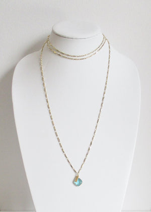 METALLIC OCEAN ANYA CHOKER THREE TIER AQUAMARINE GEMSTONE NECKLACE