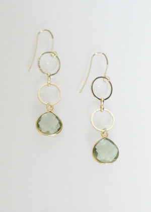 SAMPLE SALE METALLIC OCEAN GREEN AMETHYST EARRINGS