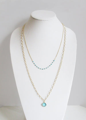 MIKA NECKLACE TURQUOISE & AQUAMARINE COMBO