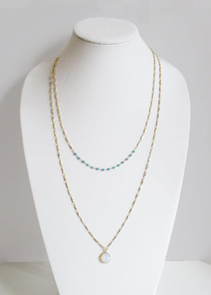 MIKA NECKLACE TURQUOISE & WHITE OPAL COMBO