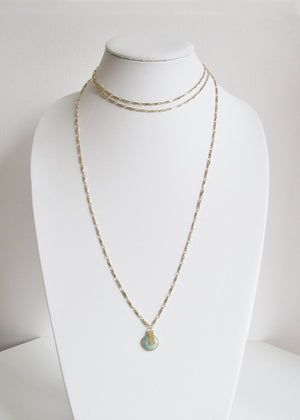 METALLIC OCEAN ANYA CHOKER THREE TIER AMAZONITE GEMSTONE NECKLACE
