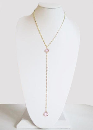 ARIANNA CECELIA Y NECKLACE CLEAR ROSE PINK