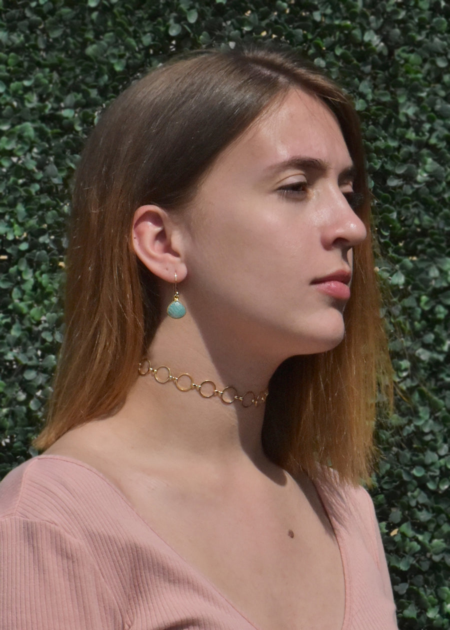 CECELIA SOLO AMAZONITE EARRINGS