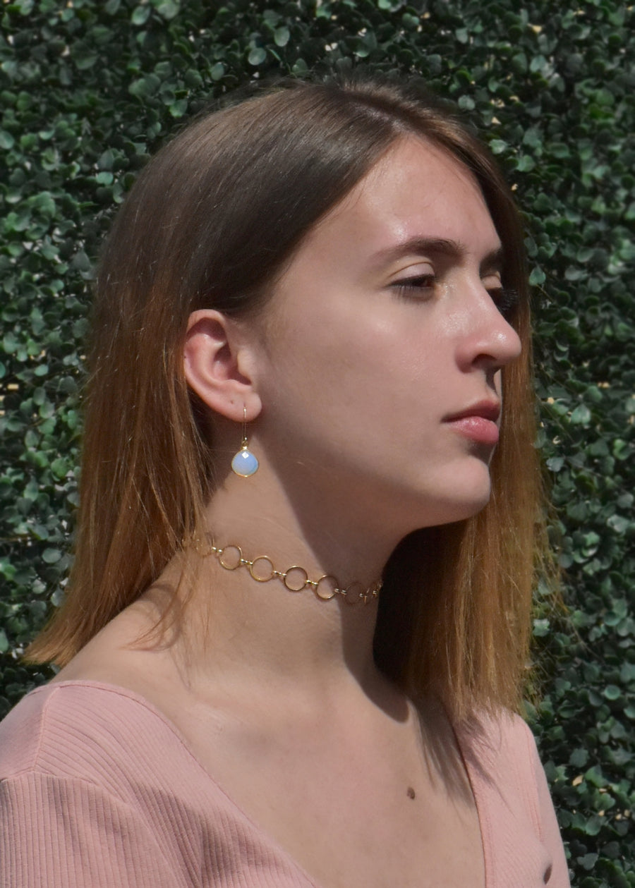 CECELIA SOLO WHITE OPAL EARRINGS