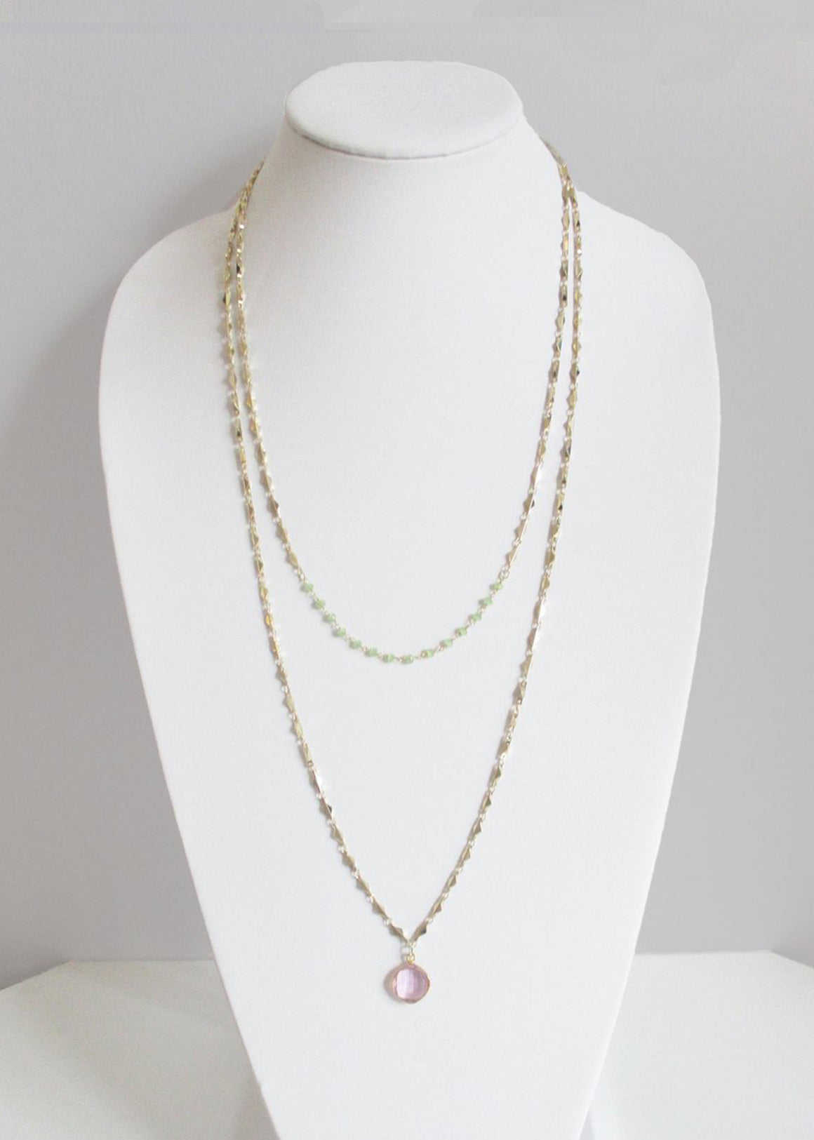 MARNA NECKLACE GREEN CHALCEDONY & ROSE PINK