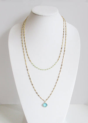 MARNA NECKLACE GREEN CHALCEDONY & AQUAMARINE COMBO NECKLACE