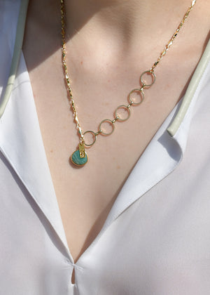 METALLIC OCEAN MIXED CHAIN CECELIA AMAZONITE GEMSTONE NECKLACE