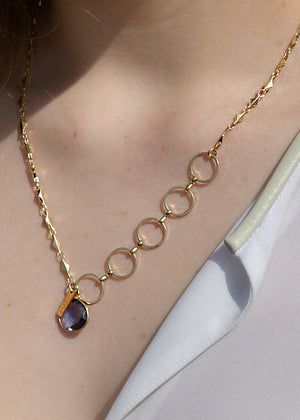 METALLIC OCEAN MIXED CHAIN PURPLE IOLITE GEMSTONE NECKLACE