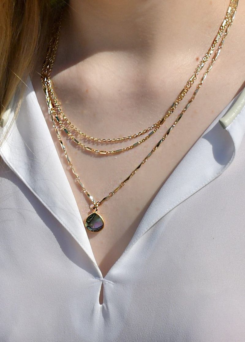 METALLIC OCEAN THREE TIER CHAIN AND ABALONE SHELL GEMSTONE NECKLACE (SOLD OUT)