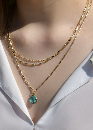 METALLIC OCEAN THREE TIER CHAIN AND AQUAMARINE SHELL GEMSTONE NECKLACE (A SOLD OUT)