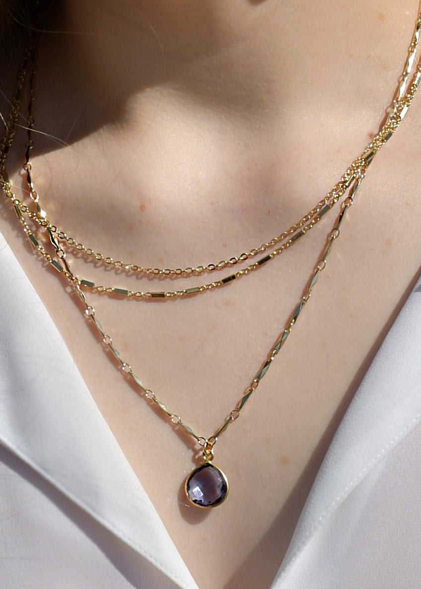 METALLIC OCEAN THREE TIER CHAIN AND IOLITE GEMSTONE NECKLACE