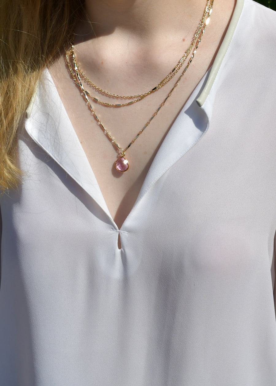 METALLIC OCEAN THREE TIER CHAIN AND ROSE PINK GEMSTONE NECKLACE