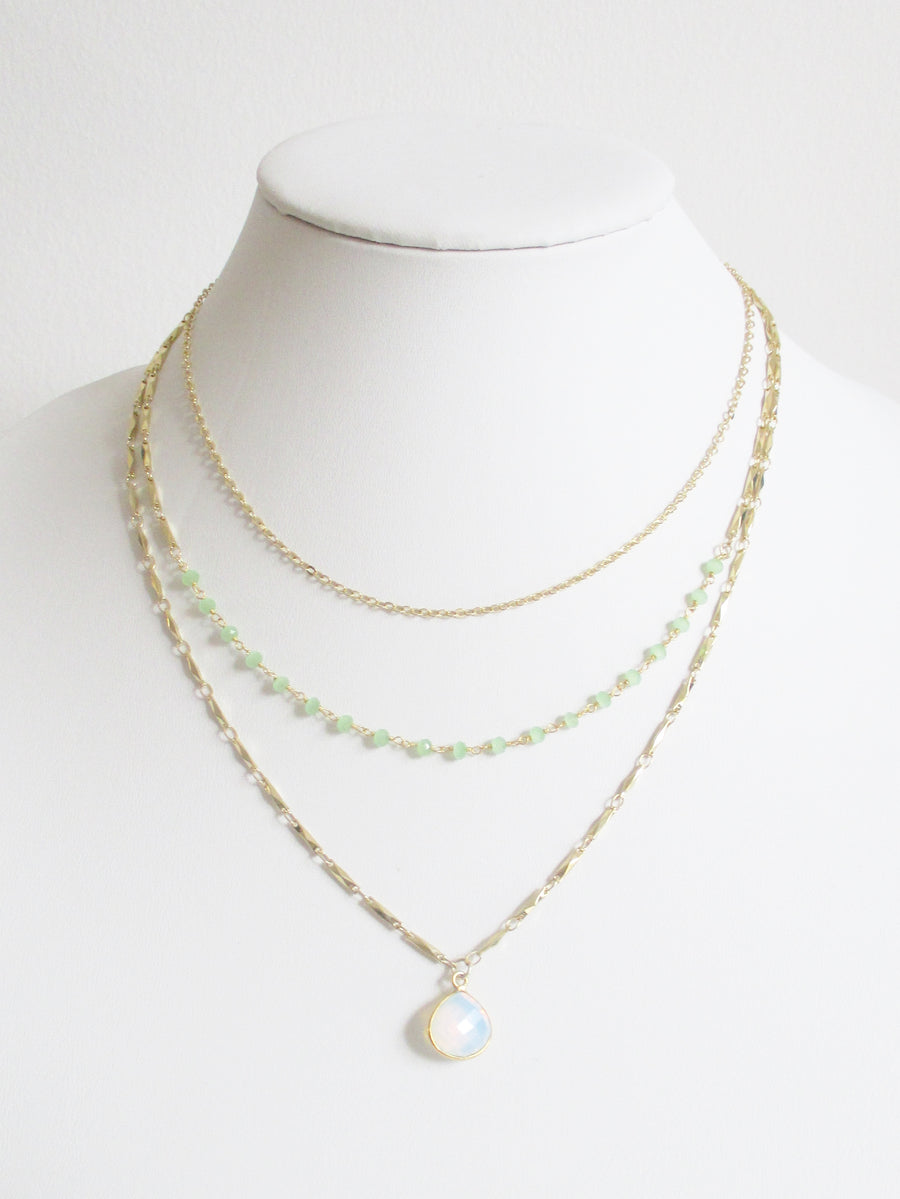 METALLIC OCEAN THREE TIER GREEN CHALCEDONY AND WHITE OPAL GEMSTONE NECKLACE