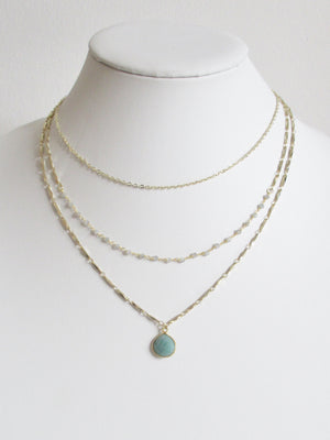 METALLIC OCEAN THREE TIER LABRADORITE AND AMAZONITE NECKLACE