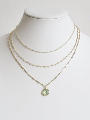 METALLIC OCEAN THREE TIER LABRADORITE AND GREEN AMETHYST GEMSTONE NECKLACE