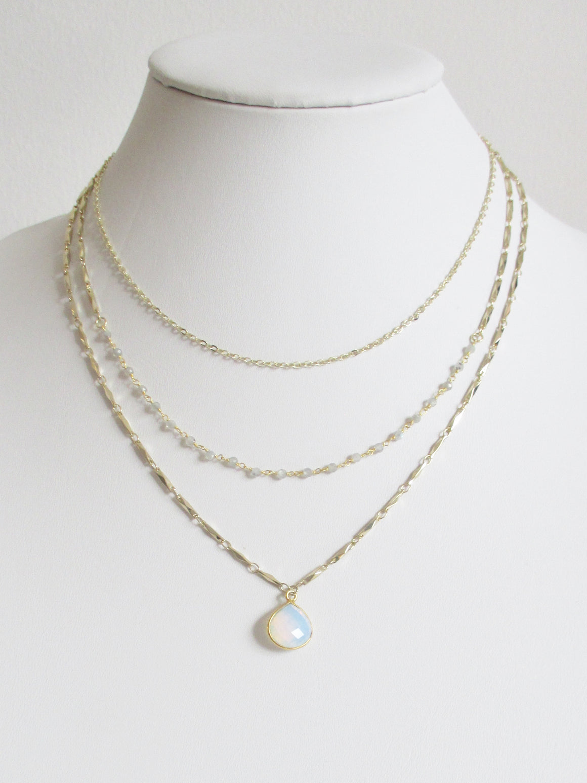 METALLIC OCEAN THREE TIER LABRADORITE AND WHITE OPAL GEMSTONE NECKLACE