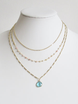 METALLIC OCEAN THREE TIER PINK OPAL AND AQUAMARINE NECKLACE