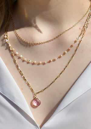METALLIC OCEAN THREE TIER PINK OPAL AND ROSE PINK GEMSTONE NECKLACE