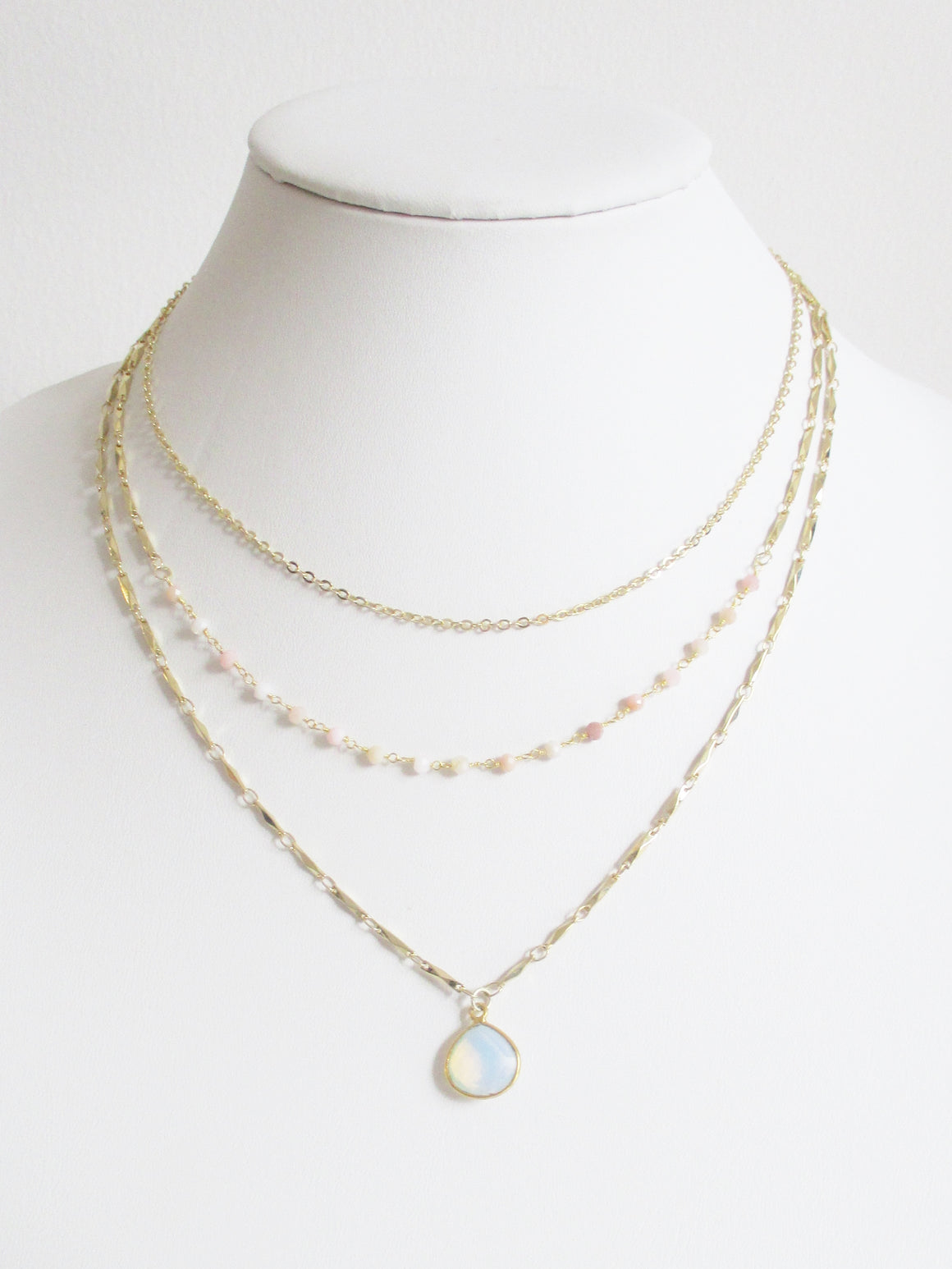 METALLIC OCEAN THREE TIER PINK OPAL AND WHITE OPAL GEMSTONE NECKLACE