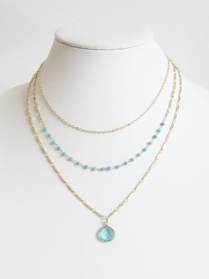 METALLIC OCEAN THREE TIER TURQUOISE AND AQUAMARINE NECKLACE