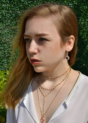 MG ARIANNA CHOKER Y NECKLACE PINK OPAL