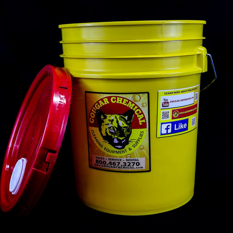Plastic Yellow 5 Gallon Pail With Top
