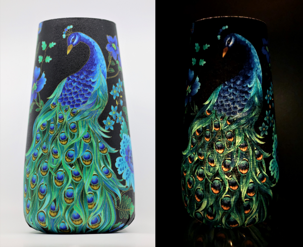 Art Vase Art Lamp - Peacock Floral