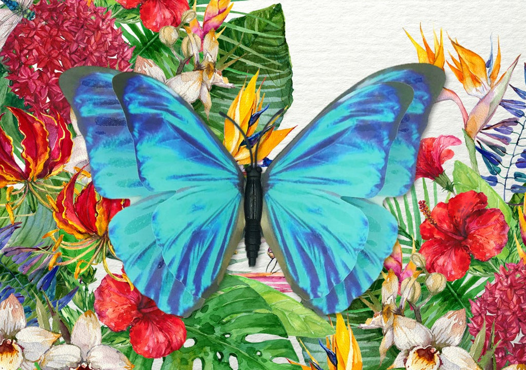 CRD-203 Blue Morpho Butterfly on Tropical Floral