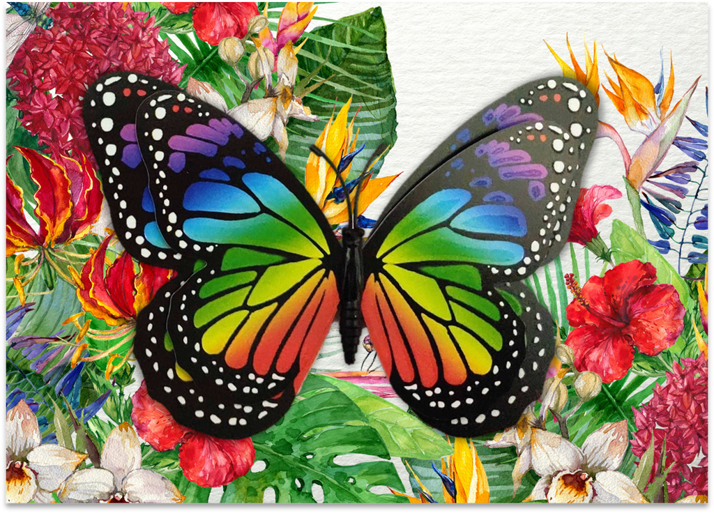 CRD-07 Rainbow Monarch on Tropical Floral